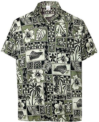 Black Button Down Camp Shirt - LA LEELA Likre Button Down Camp Shirt Black 509 4XL | Chest 64
