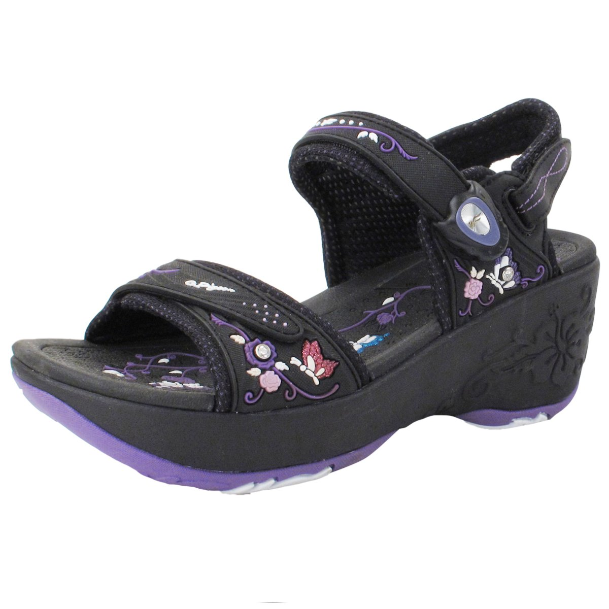Gold Pigeon GP5974W (Size 4.5-8) Easy Magnetic Snap Lock Closure Light Weight Comfort Platform Sandals (Size 4.5-8) B0794HQ7ZH EU36: US 5/5.5|Black Purple