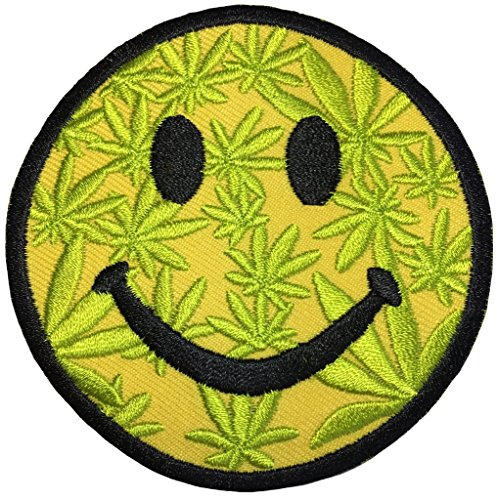 Marijuana weed leaf Emotion Smile size 3 inch Music Band retro hippie Logo Jacket Vest shirt hat blanket backpack T shirt Patches Embroidered Appliques Symbol Badge Cloth Sign Costume - At Hills Chino The Shops
