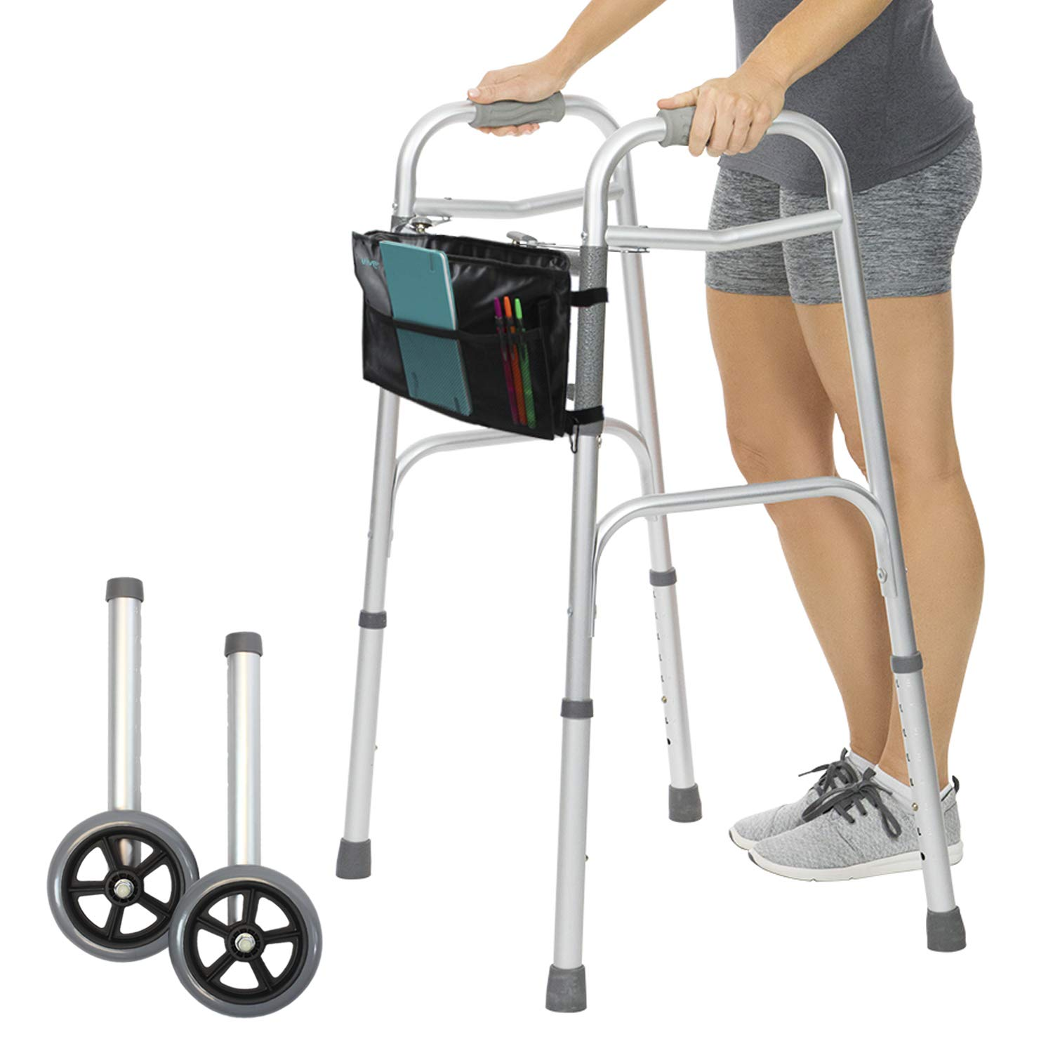 Vive Folding Walker [Plus Bag] - Front Wheeled Support, Narrow 23 Inch Wide - Adjustable, Portable, Lightweight, Compact Elderly Walking Medical Mobility Aid for Handicap - Push Button Open and Close