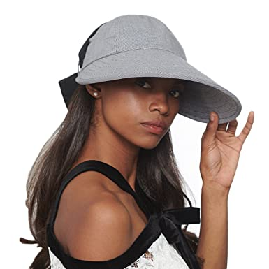 CACUSS Women s Summer Sun Hat Large Brim Visor Adjustable Elastic Band  Packable UPF 50+ ( a1b12e10968