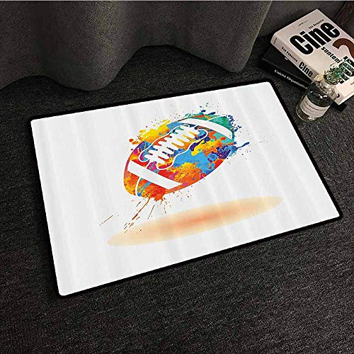 Sports Decor Bedroom Doormat Rugby Ball with Rainbow Brush Effects Filled Covered with Colors Sports Sign Leisure Design Country Home Decor W30 xL39 Multi ()