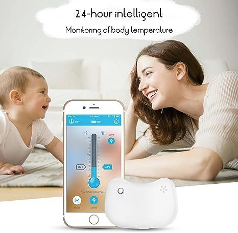 Termómetro para bebés, Termómetro Inteligente Inalámbrico para Bebés, ABEDOE, Bluetooth, Monitoreo, Monitor Inteligente de Fiebre del Bebé, 24 horas (White): Amazon.es: Bebé