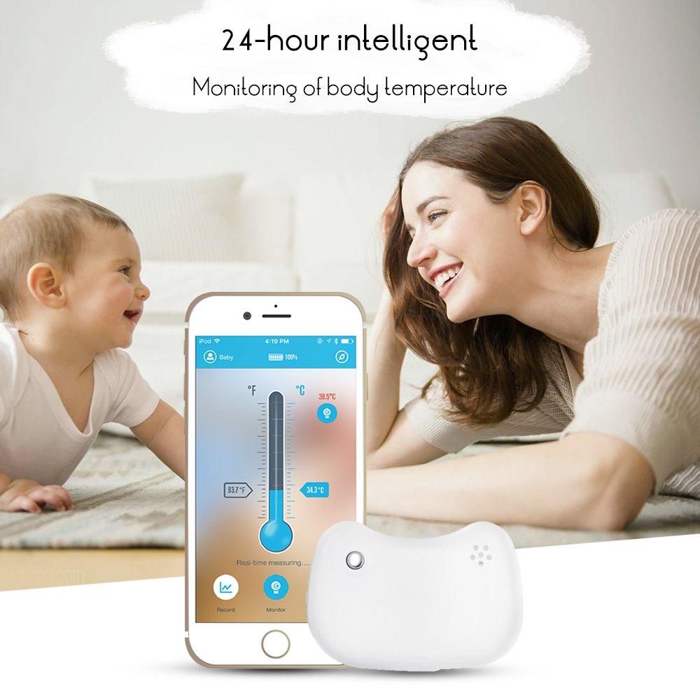 Vvciic Intelligent bébé Fever moniteur sans fil avec Bluetooth Alerte intelligente Bracelet Moniteur Thermomètre Fever