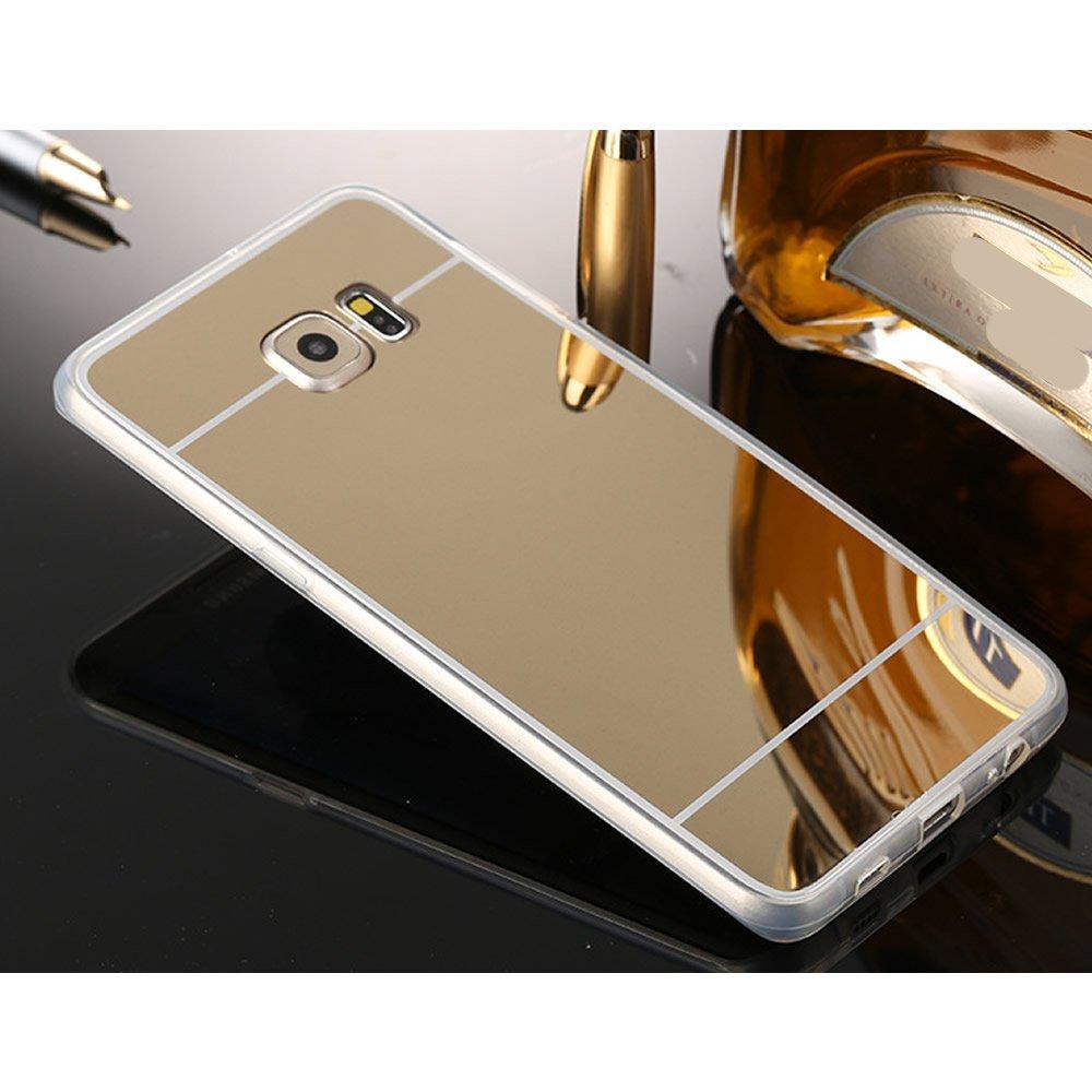 Sycode Custodia Specchio per Galaxy S7, Diamante Cover per Galaxy S7, Strass Lusso Glitter Silicone Custodia con Orso Ring Supporto per Samsung Galaxy S7-Rosa Oro