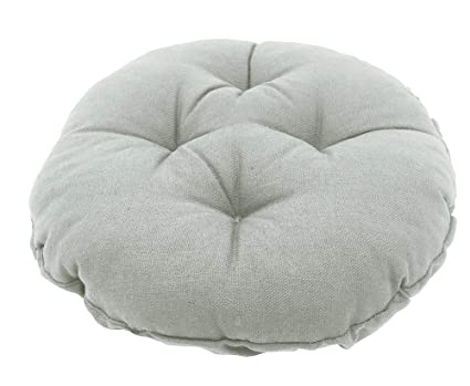 Sigmat Bar Stool Cushion Round Tufted Stool Cover 18 Inch Grey