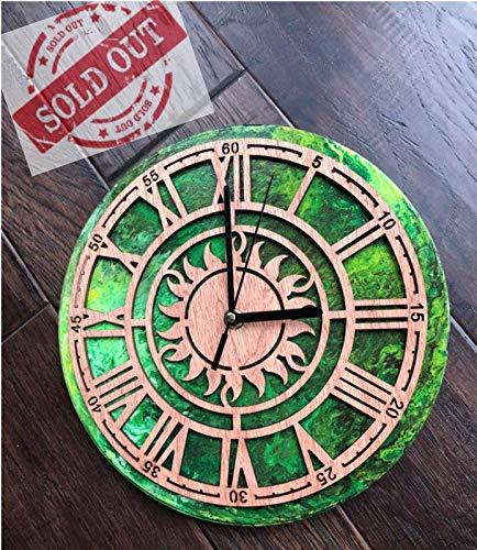 Acrylic Pour Green Wood Sun Dial Vintage Record Clock - Hobbs Superior Handmade Supply ()
