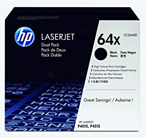 HP 64X | CC364XD | 2 Toner Cartridges | Black | High Yield