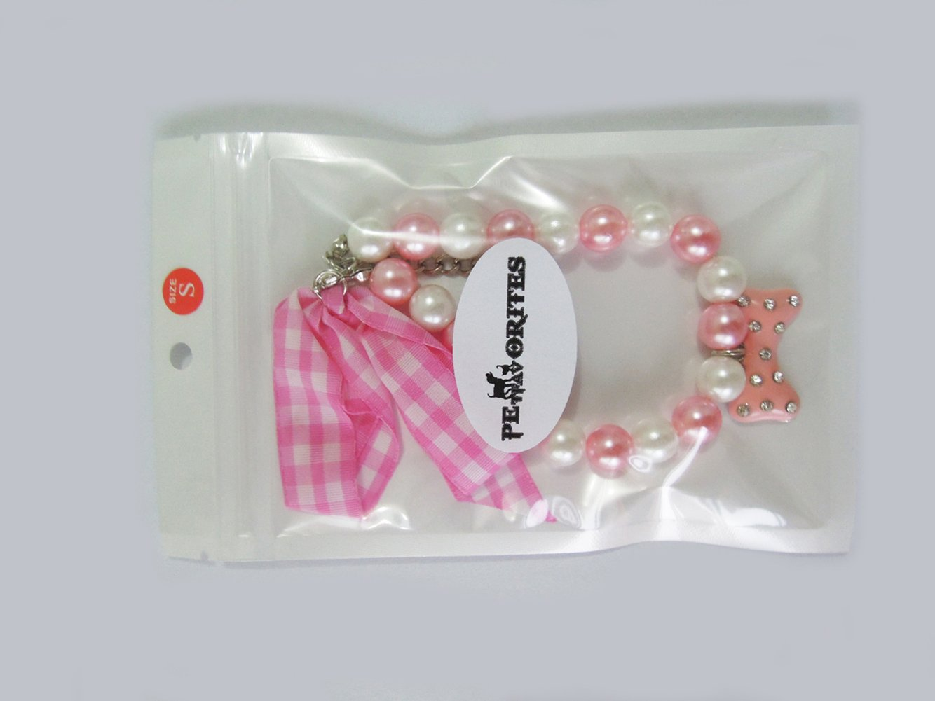 Adjustable PETFAVORITES Fancy Diamond Pearl Dog Necklace Collar Jewelry with Bling Rhinestones Bone Charm for Pets Cats Small Dogs Girl Teacup Chihuahua Yorkie Clothes Costume Outfits Accessories