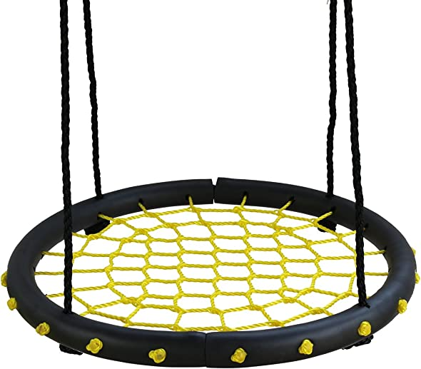 Movement God Spider Web Tree Swing with Adjustable Hanging Ropes – 24 Diameter Kids Indoor Outdoor Round Net Swing – Great for Tree, Swing Set, Backyard, Playground, Playroom Yellow