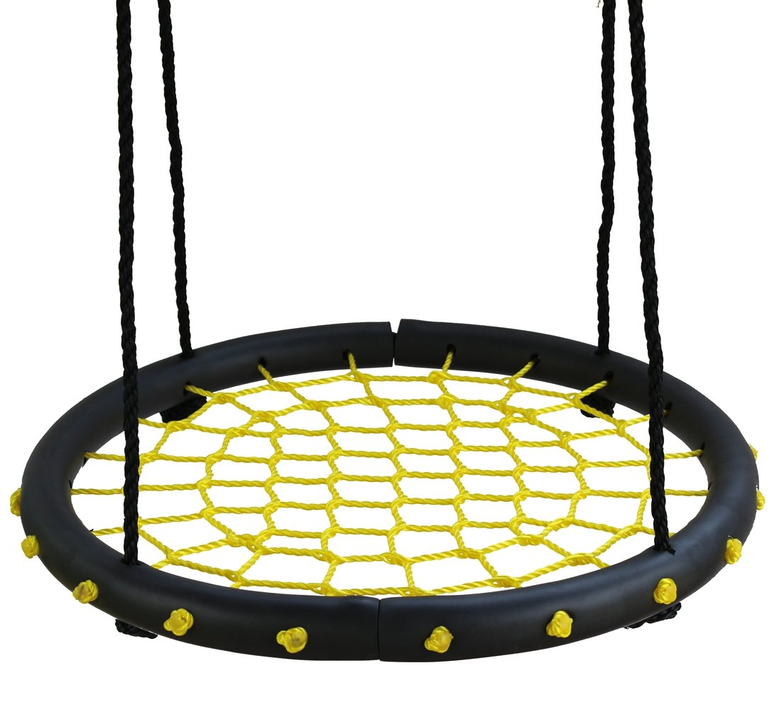 Movement God Spider Web Tree Swing with Adjustable Hanging Ropes - 24'' Diameter Kids Indoor/Outdoor Round Net Swing - Great for Tree, Swing Set, Backyard, Playground, Playroom (Yellow)