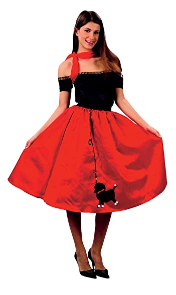 Ladies Bopper Poodle Skirt Costume For 50s Rock N Roll Fancy Dress Outfit Adult