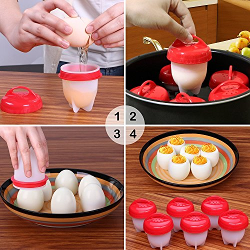 Egglettes Egg Cooker - Hard Boiled Eggs without the Shell, Eggies AS SEEN ON TV,6 Pack with BONUS ITEM. by PINE KITCHEN CO (Image #4)'