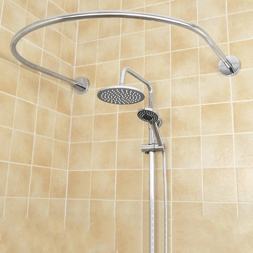 ZZHF Asta per tenda da doccia / Acciaio inossidabile / Foratura libera / Porta asciugamani da bagno / Asta da bagno per doccia / Asta per tende da doccia a forma di U (10 formati disponibili) (6 formati disponibili) Asta telescopica ( Colore : Piazza , dim