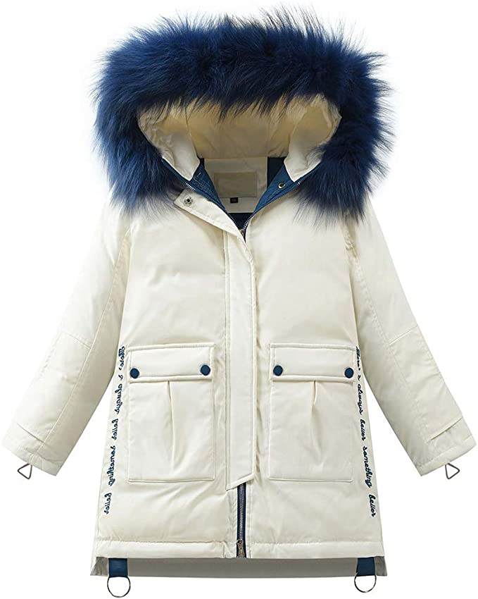 Quilted Fur Parka Hooded Coat School Kids Girls Cartoon Winter Jacket Padded