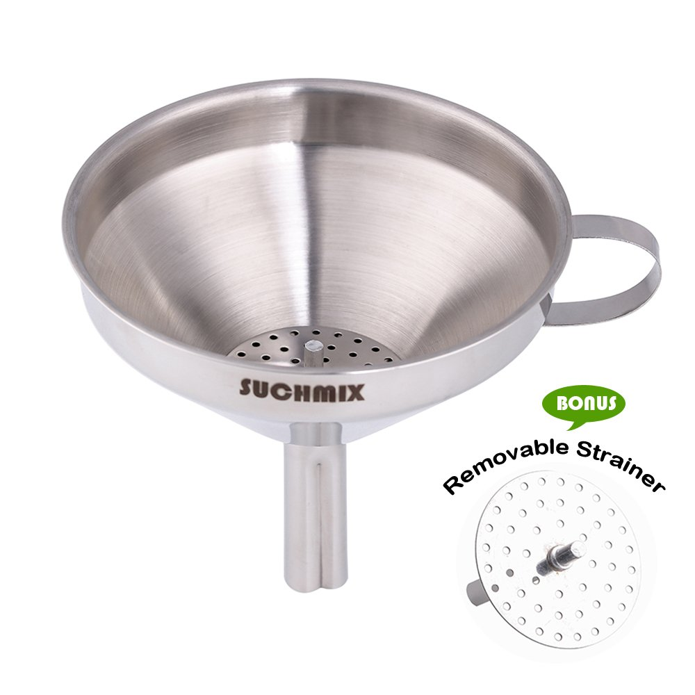 Amazon.com: SUCHMIX Stainless Steel Kitchen Funnel for Cooking Oils ...