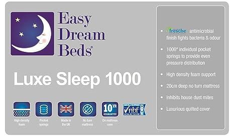 EASY DREAM BEDS Luxe sueño 1000 ortopédica colchón de Espuma con 1000 Bolsillo muelles 10 años