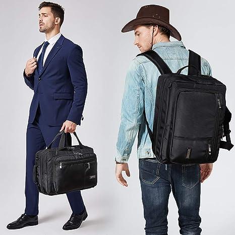 CLUCI Laptop Bag for Men Canvas Expandable 15.6 Inch Business Briefcase Convertible Backpack Large Water Repellent Travel Shoulder Bag Black
