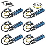 S-Union 6-Pins Pcle VER 006C PCl-E 16x to 1x Powered Riser Adapter Card with 50cm USB 3.0 Extension Cable to & MOLEX SATA Power Cable GPU Riser Adapter Ethereum Mining ETH (6-Packs)