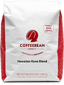 Coffee Bean Direct Hawaiian Kona Blend Coffee, Light Roast, Whole Bean, 5 Pound
