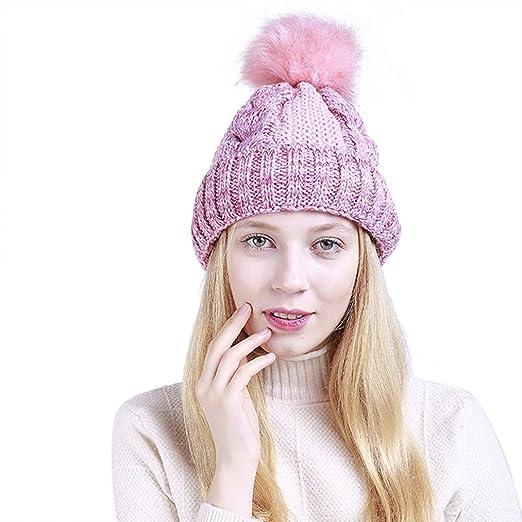 521d3dadab5 ZX101 Knitted Slouchy Beanie Hat Women s Fashion Fluffy Ball Knitted Beanie  Warm Keeper Winter Ski Hat