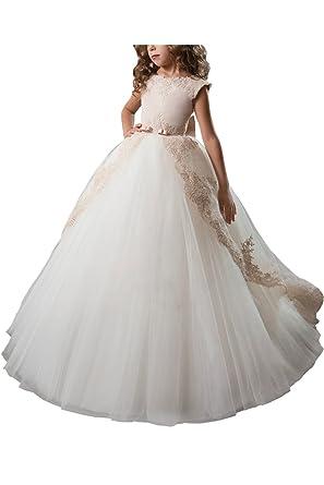 1ca815a8fd4e8 Babyonlinedress Elégant Robe de Fille Enfant de Mariage Soirée Princesse Col  rond Longue avec Nœud de
