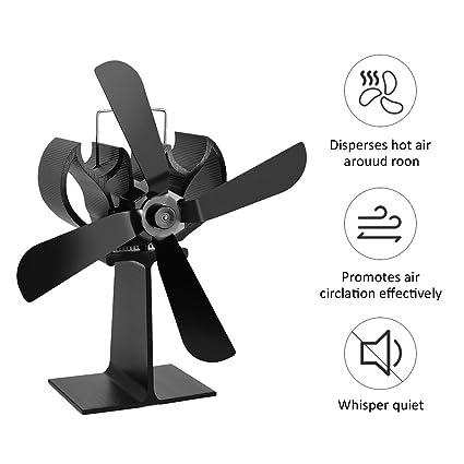 4 láminas de calor ventilador estufa de leña eco chimenea silenciosa ventilador soplador registro quemador ventilador - negro: Amazon.es: Hogar