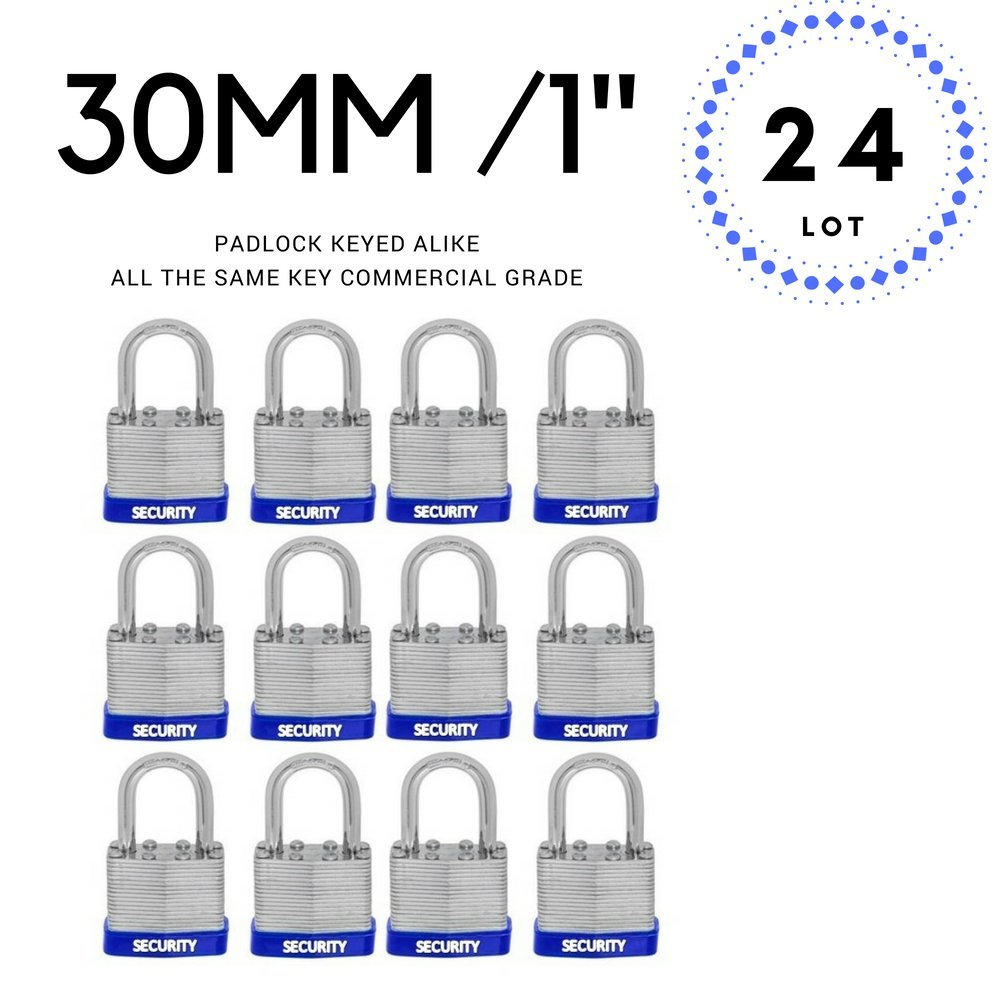 Pack of 24, Small Laminated Steel Padlocks 30 mm Or 1.3/16