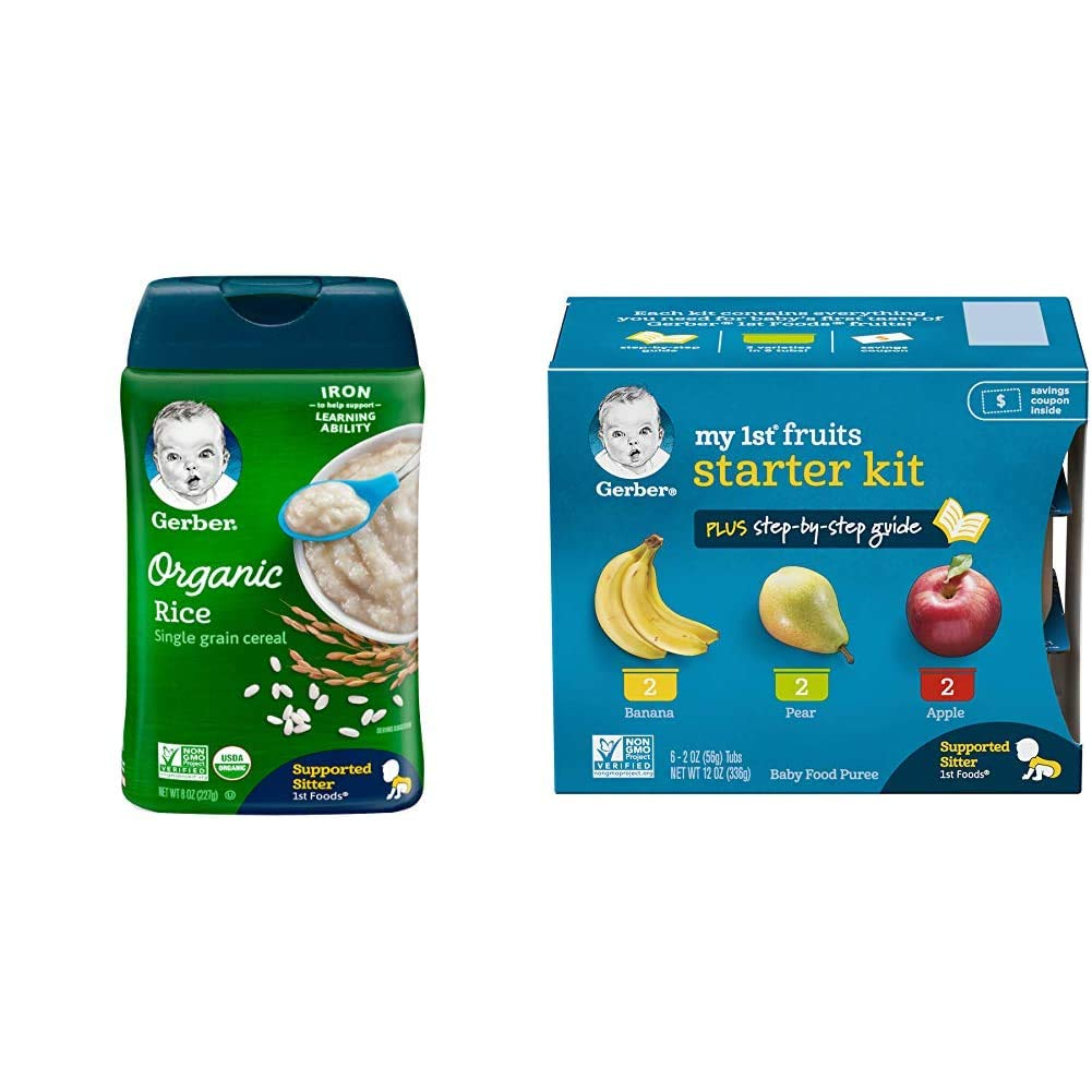 Gerber Baby Cereal Organic Rice Cereal, 8 Ounces (Pack of 6) & Purees My 1st Fruits Starter Kit, 2 Ounce Tubs, Box of 6 (Pack of 2)