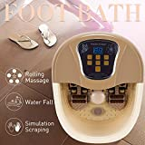 Natsukage All-in-one Foot Spa Bath Massager with Heat, Rolling Massage, Digital Temperature Control LED Display (LY-819(Brown))