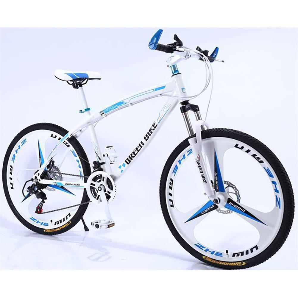 blancoazulUnisexo 21 Velocidad Bicicleta de montaña de suspensión Estudiante Niño Híbrido Freno de Disco Doble Ciudad del Viajero Cabellera Dura 26 Rueda de Bicicleta de montaña,Metallic.