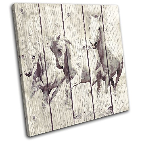 Bold Bloc Design – Horse Painting Vintage Animals 40x40cm SINGLE Canvas Art Print Box Framed Picture Wall Hanging – Hand Made In The UK – Framed And R…