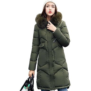 Rela Bota Women s Winter Down Parka Long Puffer Jacket Faux Fur Hood Coat  Overcoat Medium Army 65a2dd4399ed