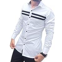 S.N. Men's Cotton Casual Long Sleeves Slim Fit Shirt