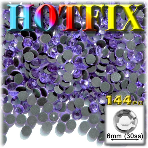 144pc Superior quality glass DMC HOTFIX Rhinestones Round 6mm (30ss) Lavender Light Purple (Light Amethyst)