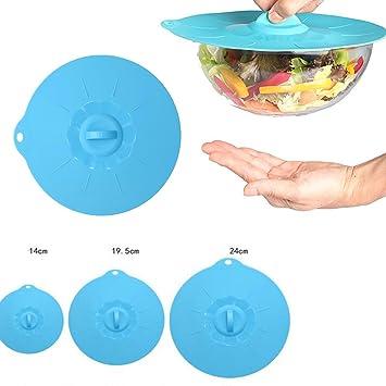 Quici 3pcs silicona succión tapas cuenco cubre cocina almacenamiento de alimentos y recalentar para ollas,