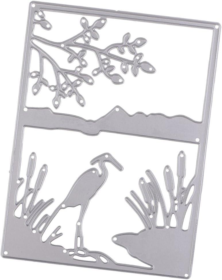 Non-brand Plantilla de Plantilla de Troqueles de Corte de Paisaje de Gr/úa de Bricolaje para /álbum de Fotos en Relieve Papel de /álbum de Recortes Artesan/ía Fabri