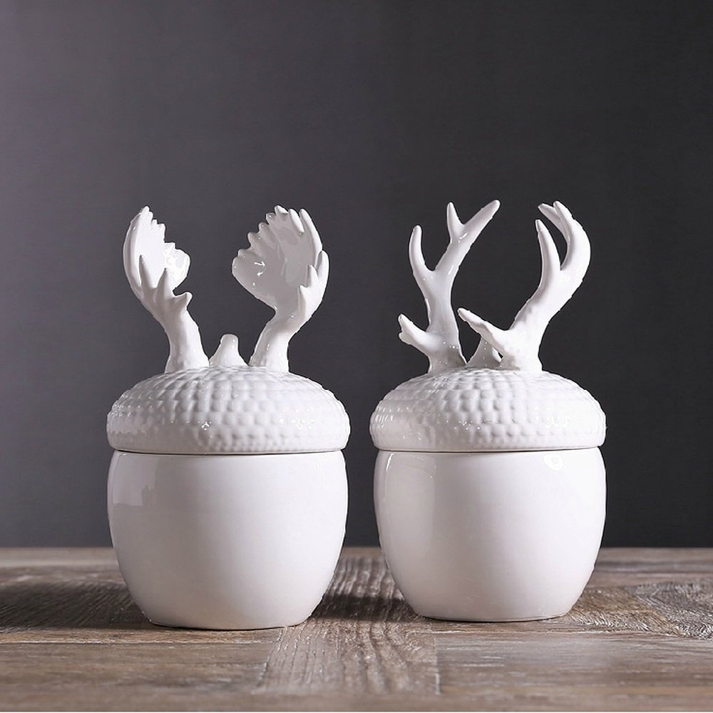 Bwlzsp 1 pair American country ceramic candy snack jar French white glazed animal antler storage jar LU709134