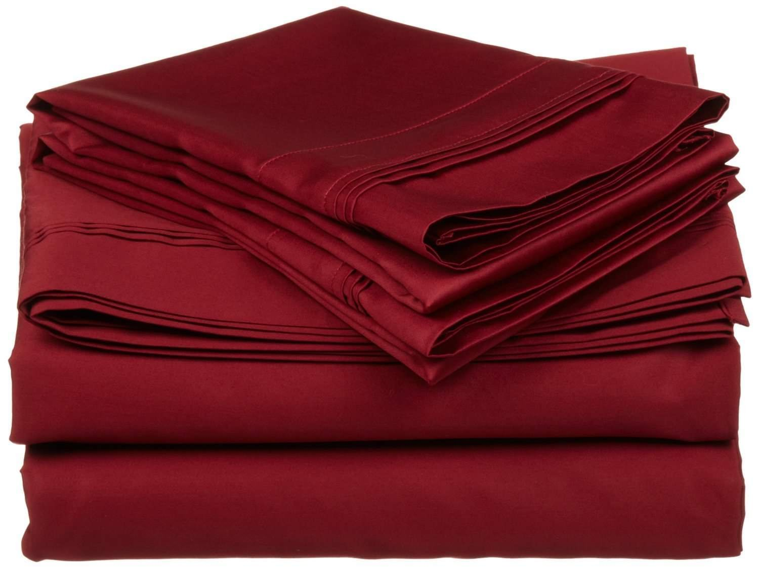 400 Thread Count 4 Piece Set Queen Size Sheets Set Burgundy Long Staple Combed Pure Natural 100% Cotton Sheet Set deep Pocket fits Upto 15 inch Soft & Silky Sateen Weave Bedding Set