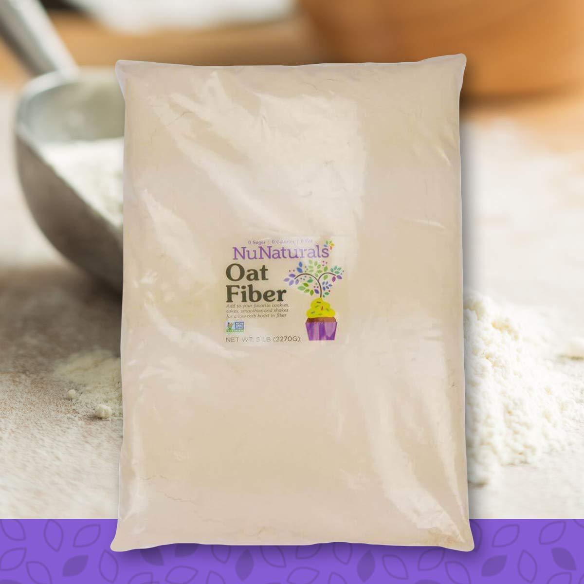 NuNaturals All Natural Oat Fiber, Non-GMO Certified, 755 Servings (5 lbs)
