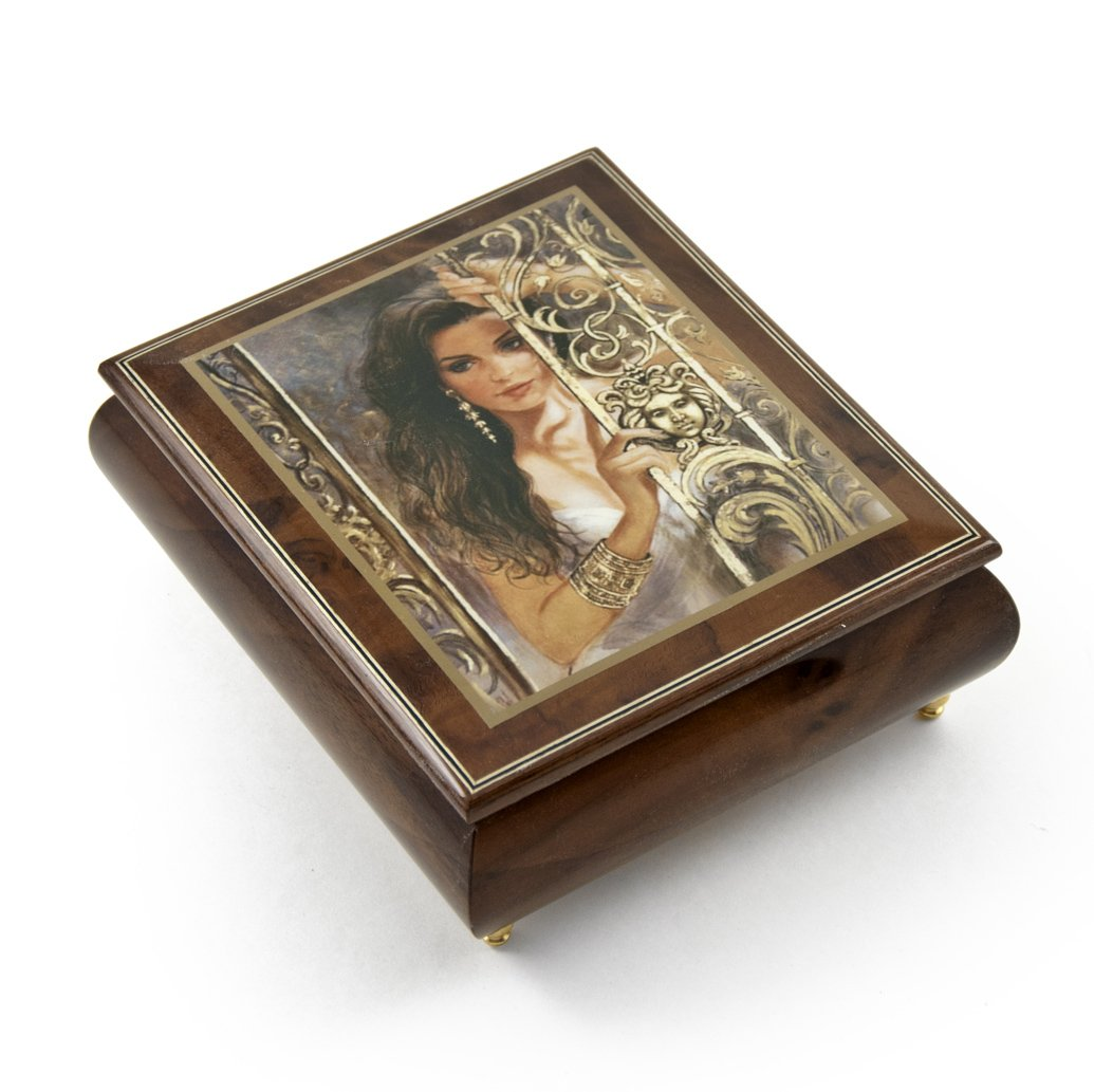 Gorgeous Wood Tone Ercolano Painted Music Box Titled ''Circe'' by Brenda Burke - English Country Garden