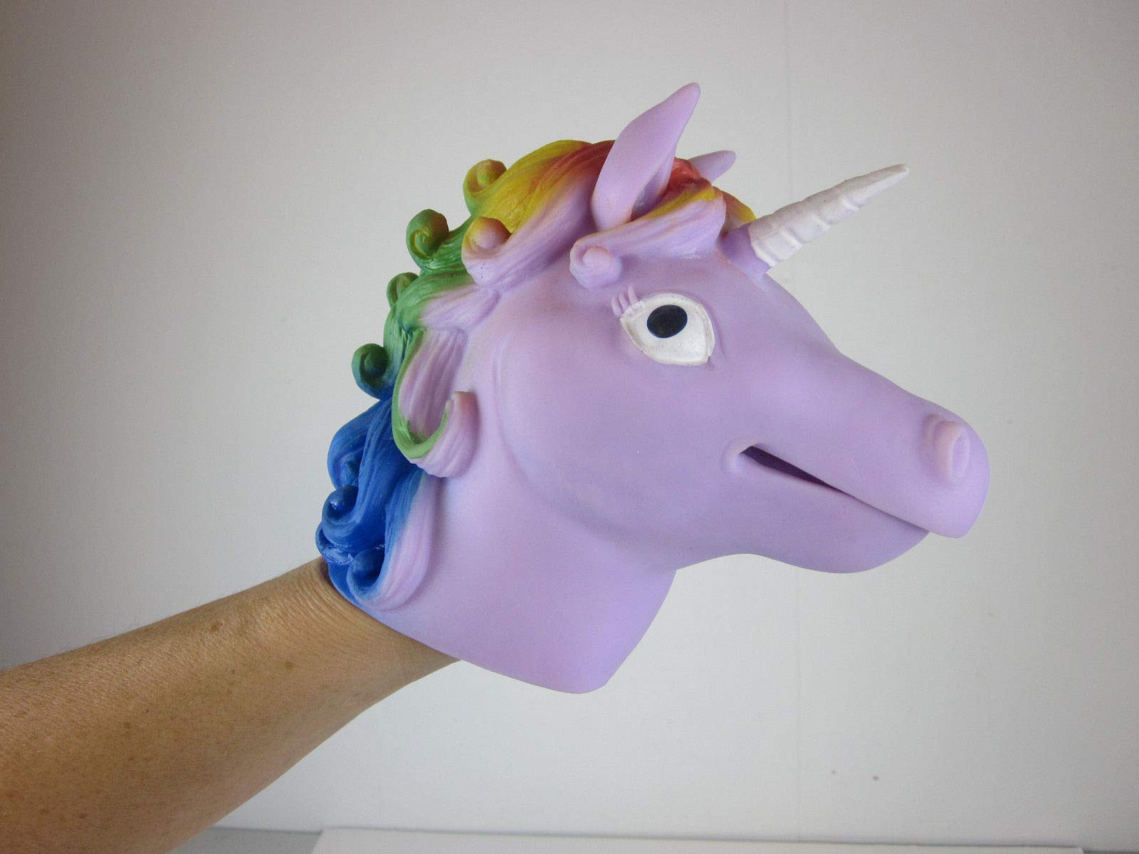 Big Game Toys~Unicorn Hand Puppet Rainbow Mane Stretchy Rubber Schylling Pink or Purple 5