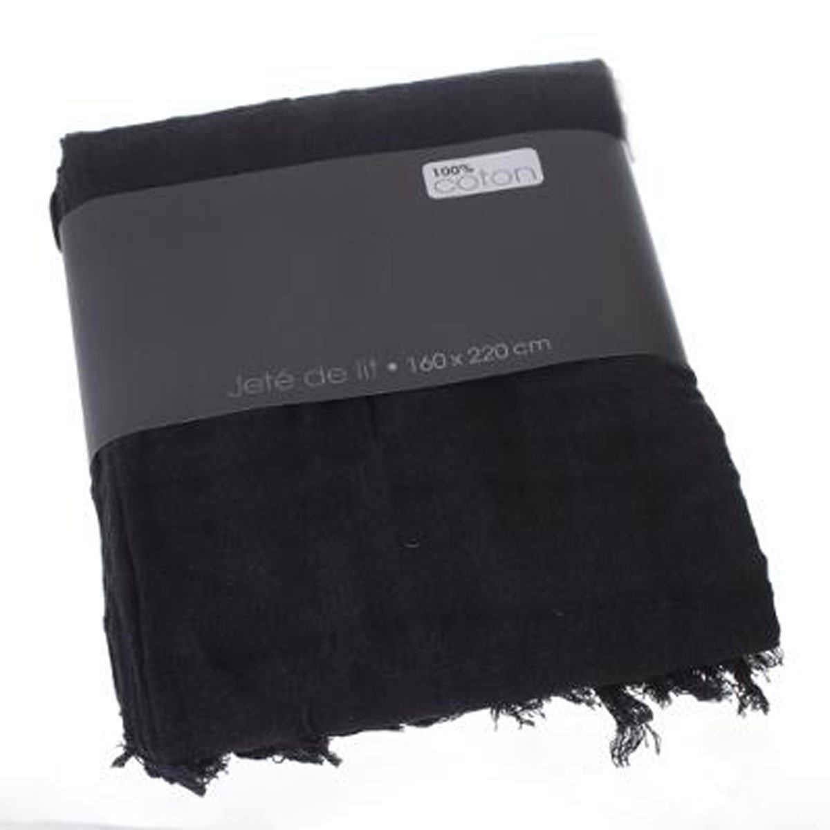 PEGANE Couvre-lit 160 x 220 cm Jet/é de lit en Coton Coloris Noir