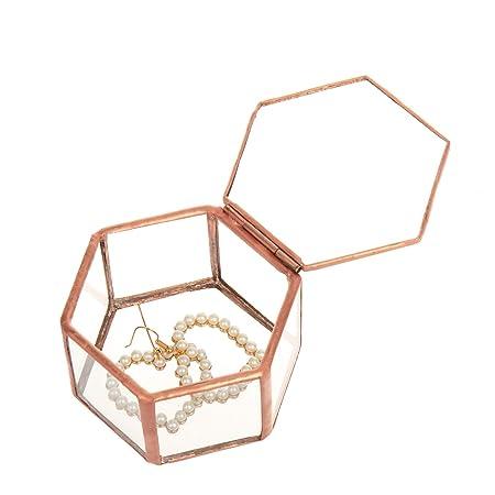 Feyarl - Joyero de Cristal con Caja de Almacenamiento Decorativa, diseño de Flores: Amazon.es: Hogar