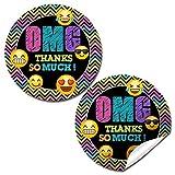 seal neon - Neon Emoji Birthday Party Sticker Labels, 20 2