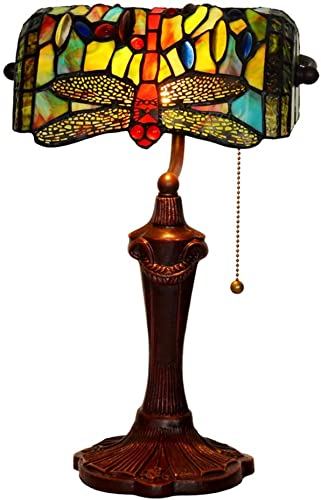 HT Tiffany Styled Decor Banker s Desk Lamp, Blue Dragonfly Stained Glass Shade Cast Iron Base, for Living Room Bedroom Office