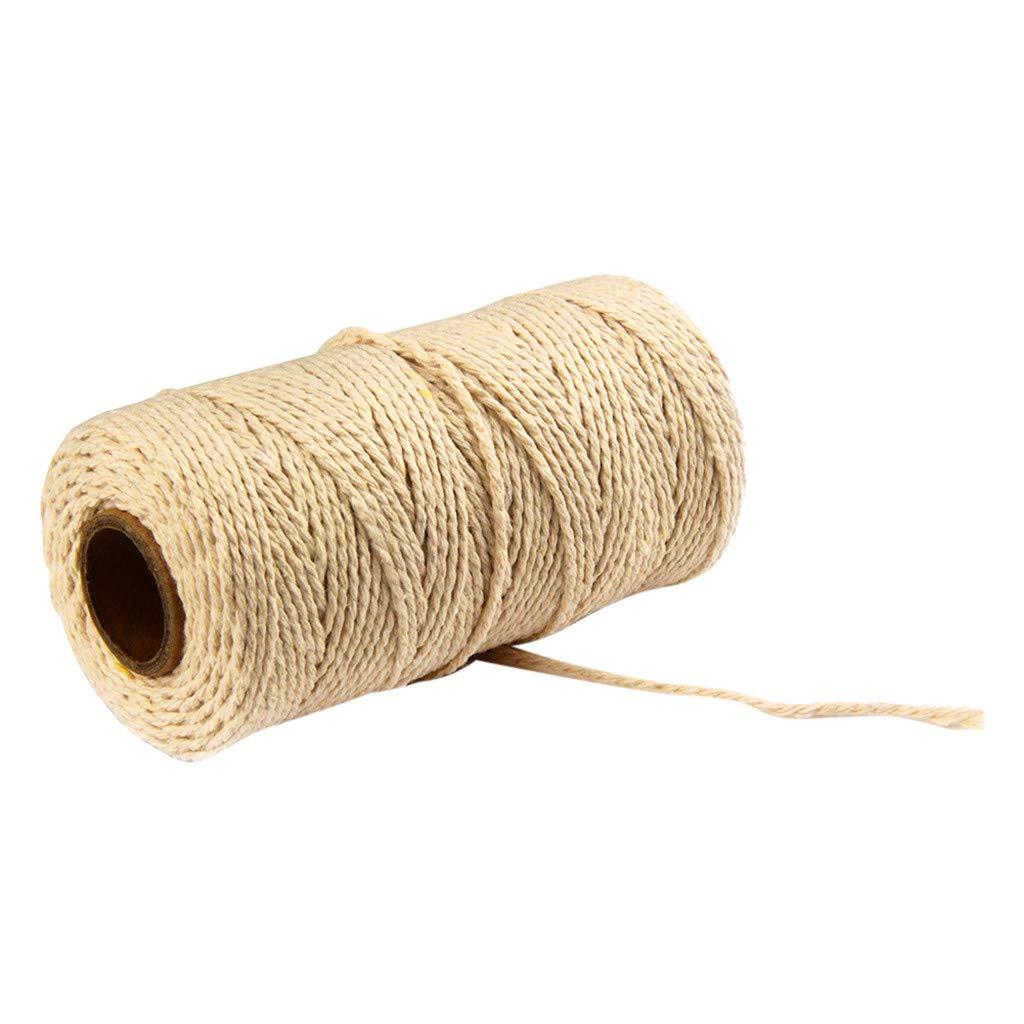 bleu TianranRT Corde en coton color/Ã/© 2 mm 100 m de long 100 m de long en pur coton torsad/Ã/© Corde artisanat