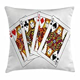 Ambesonne Queen Throw Pillow Cushion Cover, Queens Poker Set Faces Hearts and Spades Gambling Theme Symbols Playing Cards, Decorative Square Accent Pillow Case, 16 X 16 inches, Black Red Yellow
