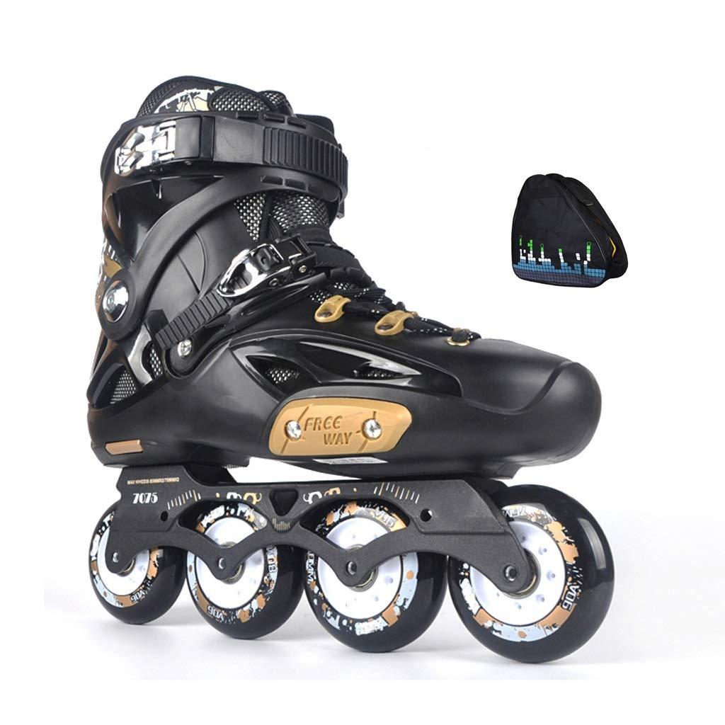 YANGXIAOYU ローラースケート、ローラースケートの女の子スーツレギンスは調節可能黒白大人10代の若者に適しています B07QPNX3BZ 36|ブラック ブラック 36