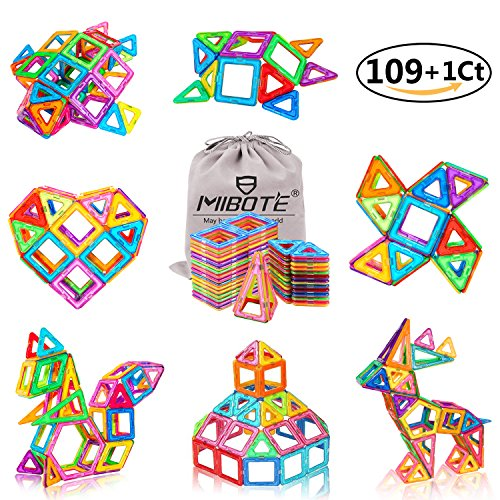MIBOTE 109+1Pcs Magnetic Building Blocks Toys Educational Magnetic Tiles Set for Boys/Girls, Stacking Blocks for Toddler/Kids - All of Them are Strong Magnet